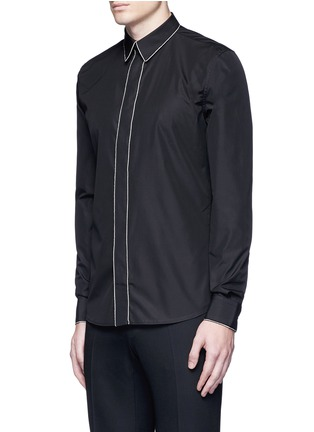 Front View - Click To Enlarge - Givenchy - Chain link trim cotton poplin shirt