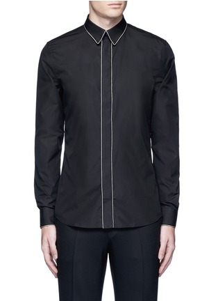 Main View - Click To Enlarge - Givenchy - Chain link trim cotton poplin shirt