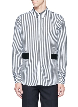 Main View - Click To Enlarge - Givenchy - Hopsack patch stripe shirt