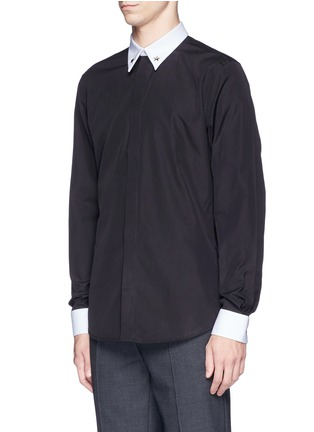 Front View - Click To Enlarge - Givenchy - Star stud piqué trim poplin shirt