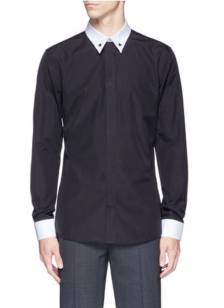 Main View - Click To Enlarge - Givenchy - Star stud piqué trim poplin shirt
