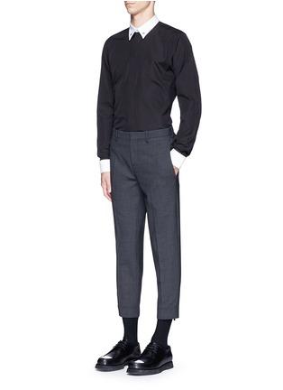 模特儿示范图 - 点击放大 - GIVENCHY - 星形领扣拼色纯棉衬衫