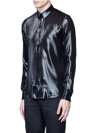 Front View - Click To Enlarge - Givenchy - Silk blend lamé shirt