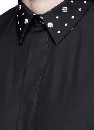 Detail View - Click To Enlarge - Givenchy - Icon print collar cotton poplin shirt