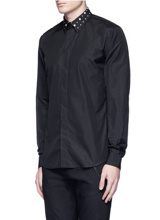 Front View - Click To Enlarge - Givenchy - Icon print collar cotton poplin shirt