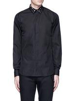 Icon print collar cotton poplin shirt