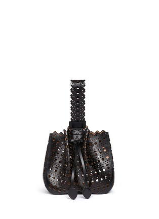 Back View - Click To Enlarge - Alaïa - 'Vienne' small lasercut leather bucket bag