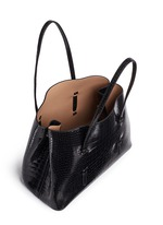 Large croc embossed patent leather tote