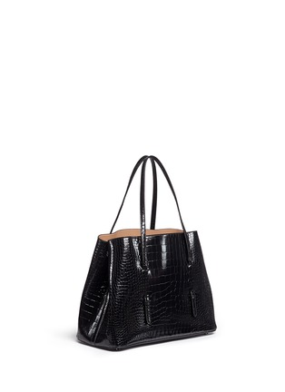 Figure View - Click To Enlarge - Alaïa - Large croc embossed patent leather tote