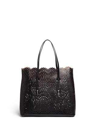 Back View - Click To Enlarge - Alaïa - 'Vienne Vague' large lasercut leather tote