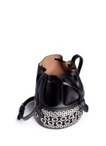 Eyelet leather bucket bag