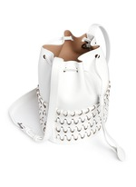'Charniere' small woven base leather bucket bag