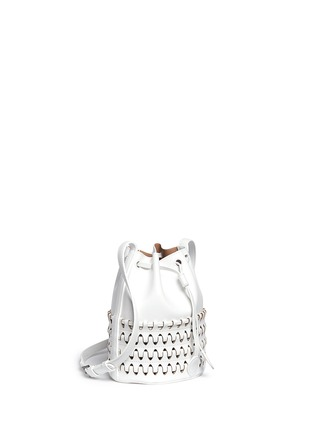 Figure View - Click To Enlarge - Alaïa - 'Charniere' small woven base leather bucket bag