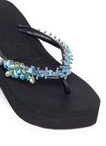 'Lily' crystal wedge flip flops