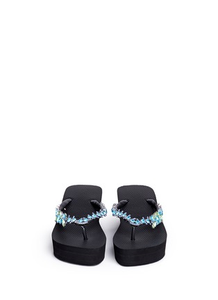 Front View - Click To Enlarge - Uzurii - 'Lily' crystal wedge flip flops