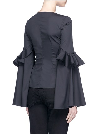 Back View - Click To Enlarge - Caroline Constas - 'Anastasia' oversized ruffle sleeve lace-up top