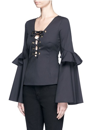 Front View - Click To Enlarge - Caroline Constas - 'Anastasia' oversized ruffle sleeve lace-up top