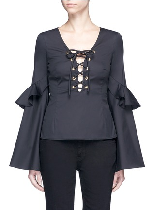 Main View - Click To Enlarge - Caroline Constas - 'Anastasia' oversized ruffle sleeve lace-up top