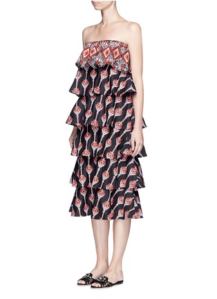 Caroline Constas - 'Margi' embroidered tiered poplin dress