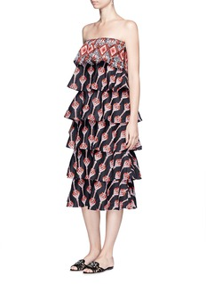 Caroline Constas 'Margi' embroidered tiered poplin dress