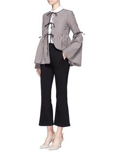 Caroline Constas'Michael' bell sleeve check poplin jacket