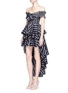 Caroline Constas'Giulia' stripe high-low tiered ruffle skirt
