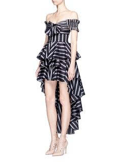 Caroline Constas 'Artemis' off-shoulder stripe bow bustier peplum top