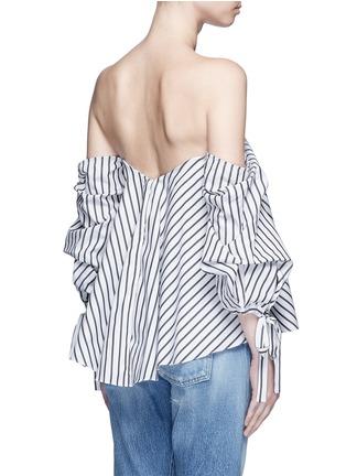 Back View - Click To Enlarge - Caroline Constas - 'Gabriella' stripe sweetheart off-shoulder top