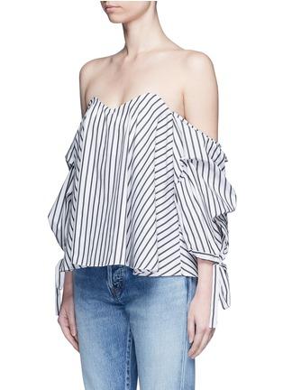 Front View - Click To Enlarge - Caroline Constas - 'Gabriella' stripe sweetheart off-shoulder top
