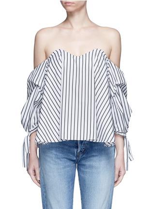 Main View - Click To Enlarge - Caroline Constas - 'Gabriella' stripe sweetheart off-shoulder top