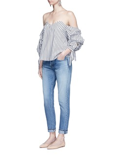 CAROLINE CONSTAS'Gabriella' stripe sweetheart off-shoulder top