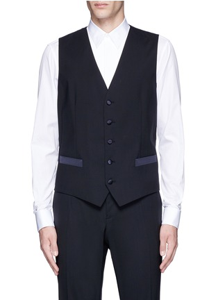 Detail View - Click To Enlarge - Dolce & Gabbana - 'Martini' satin trim wool-silk three piece tuxedo suit