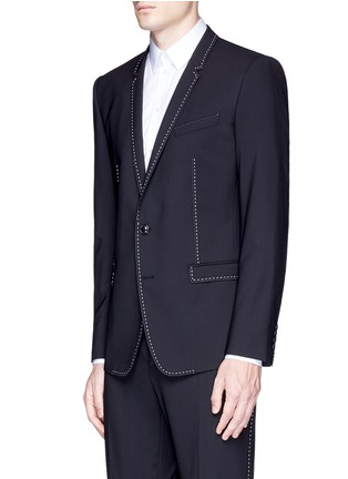 Front View - Click To Enlarge - Dolce & Gabbana - 'Gold' slim fit contrast stitch wool suit