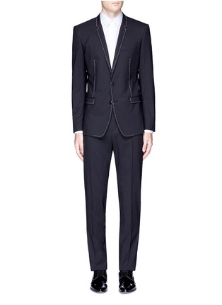 Main View - Click To Enlarge - Dolce & Gabbana - 'Gold' slim fit contrast stitch wool suit