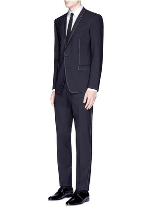 Figure View - Click To Enlarge - Dolce & Gabbana - 'Gold' slim fit contrast stitch wool suit