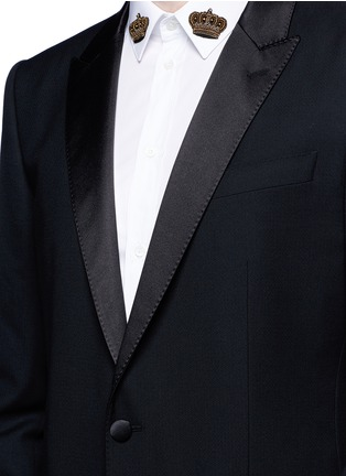 Detail View - Click To Enlarge - Dolce & Gabbana - 'Martini' satin trim wool-silk tuxedo blazer