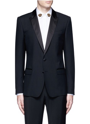 Main View - Click To Enlarge - Dolce & Gabbana - 'Martini' satin trim wool-silk tuxedo blazer