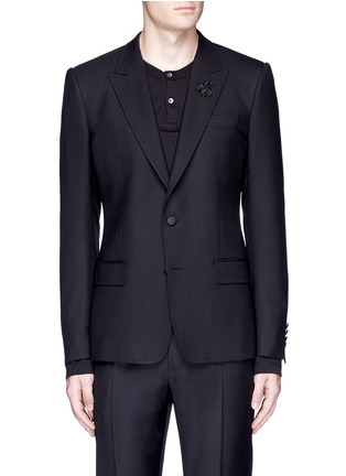 Main View - Click To Enlarge - Dolce & Gabbana - Slim fit bee embroidery wool tuxedo blazer