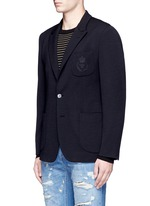 Crown embroidery wool soft blazer