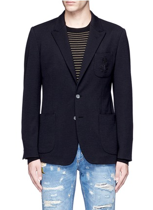 Main View - Click To Enlarge - Dolce & Gabbana - Crown embroidery wool soft blazer