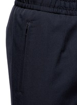Slim fit drawstring wool-cotton pants