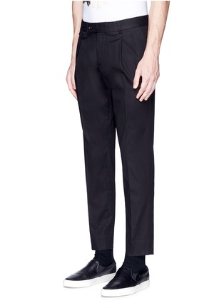 Front View - Click To Enlarge - Dolce & Gabbana - Slim fit pleated cotton pants