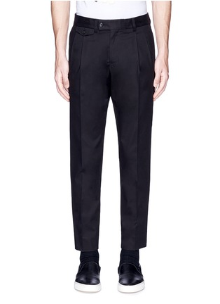 Main View - Click To Enlarge - Dolce & Gabbana - Slim fit pleated cotton pants