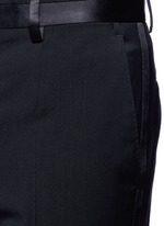 Slim fit satin trim wool tuxedo pants