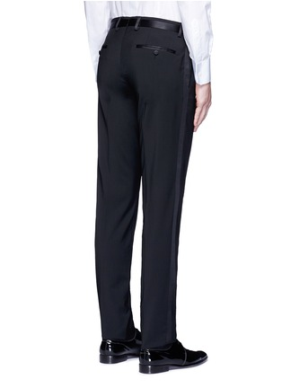 Back View - Click To Enlarge - Dolce & Gabbana - Slim fit satin trim wool tuxedo pants