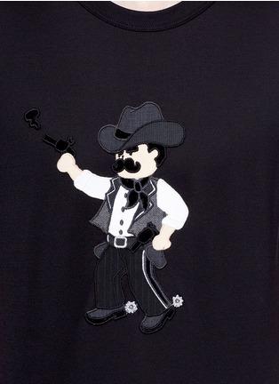 细节 - 点击放大 - DOLCE & GABBANA - 黑手党造型拼贴纯棉T恤
