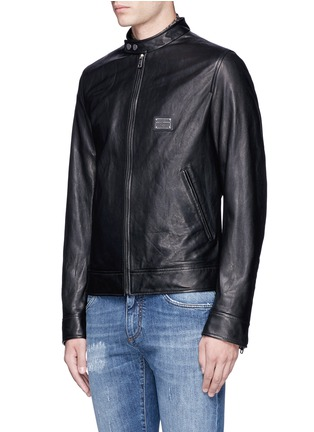 Front View - Click To Enlarge - Dolce & Gabbana - Leather racer jacket