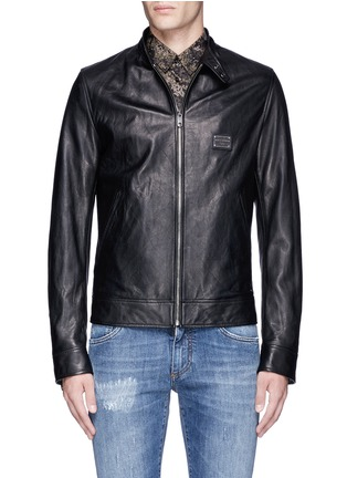 Main View - Click To Enlarge - Dolce & Gabbana - Leather racer jacket