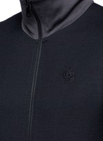Crown embroidery wool-cotton track jacket