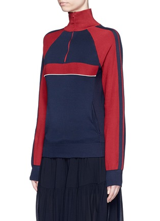 Front View - Click To Enlarge - Chloé - Bicolour silk knit turtleneck pullover